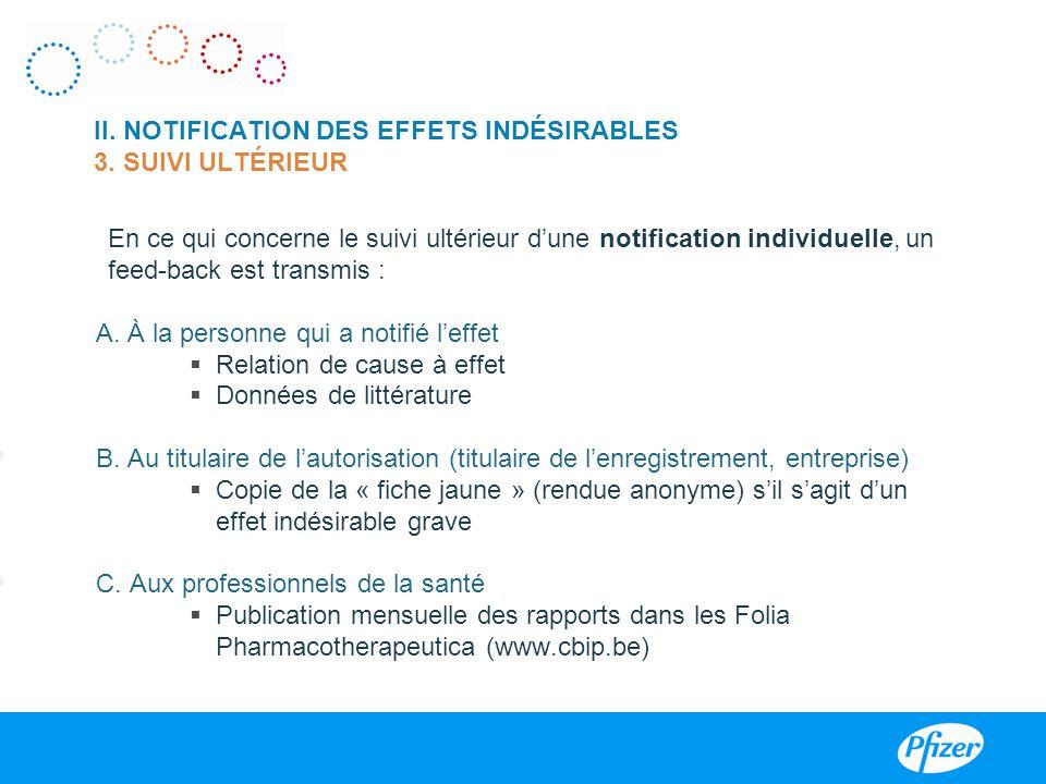II. NOTIFICATION DES EFFETS INDÉSIRABLES 3. SUIVI ULTÉRIEUR