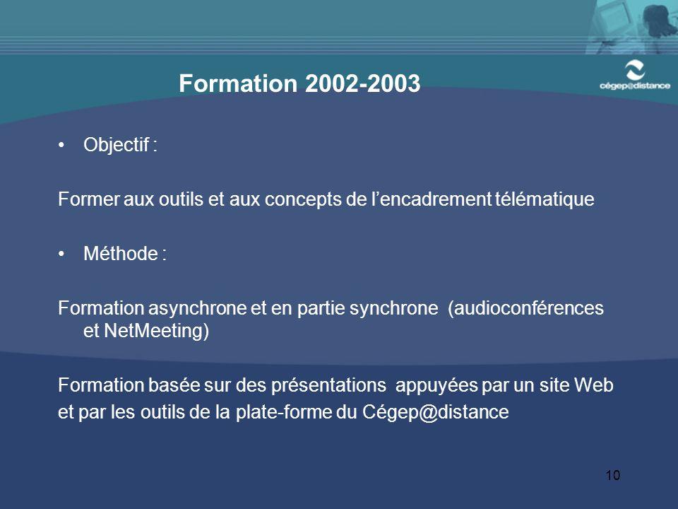 Formation 2002-2003 Objectif : Former aux outils et aux concepts de l'encadrement télématique. Méthode :