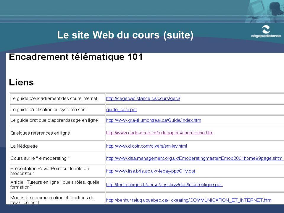Le site Web du cours (suite)
