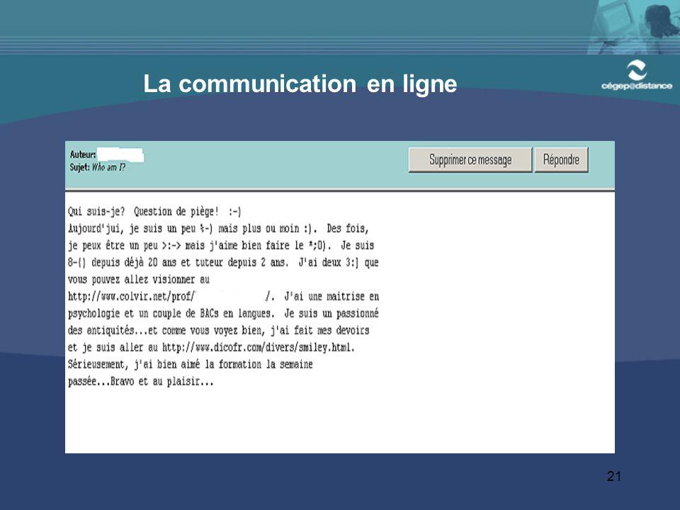 La communication en ligne