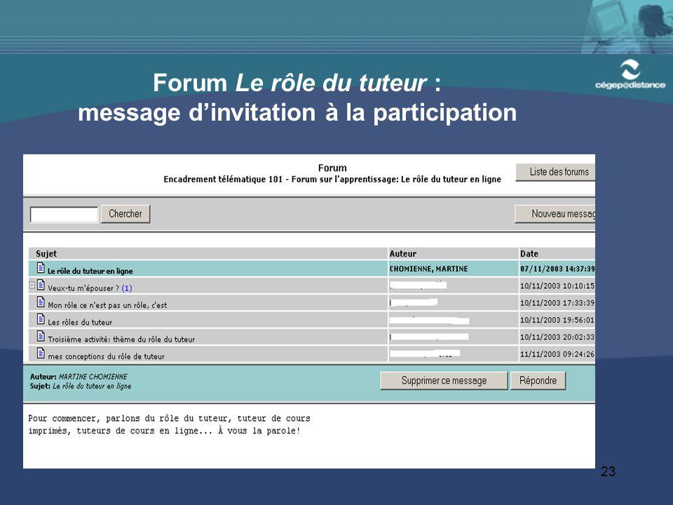 Forum Le rôle du tuteur : message d'invitation à la participation