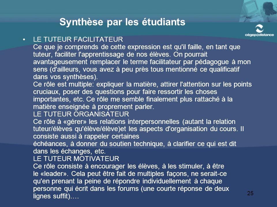 Synthèse par les étudiants