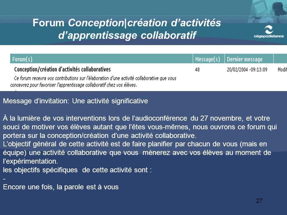Forum Conception|création d'activités d'apprentissage collaboratif