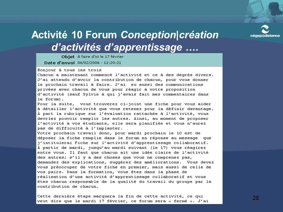 Activité 10 Forum Conception|création d'activités d'apprentissage ….