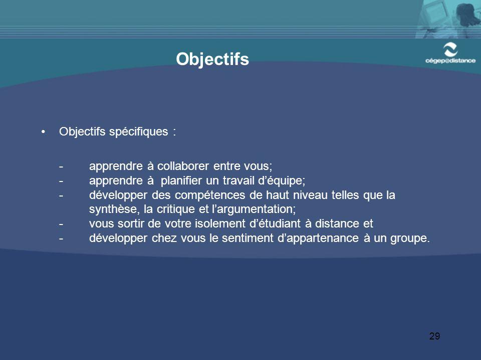 Objectifs Objectifs spécifiques :