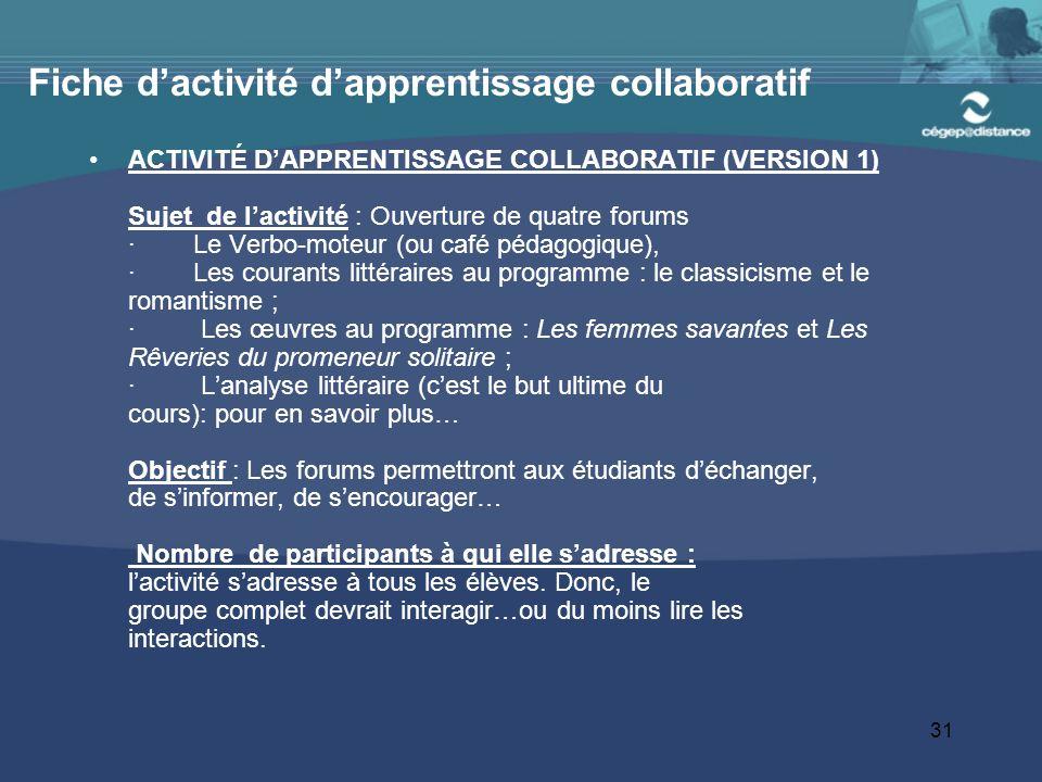 Fiche d'activité d'apprentissage collaboratif