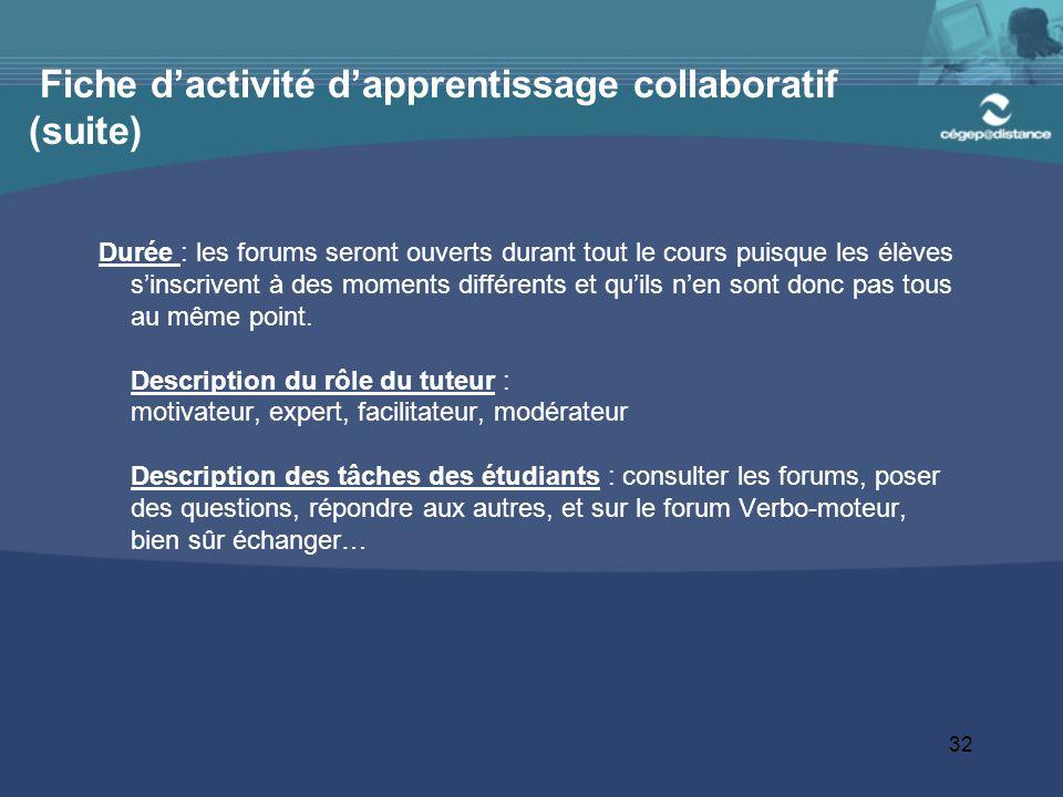 Fiche d'activité d'apprentissage collaboratif (suite)