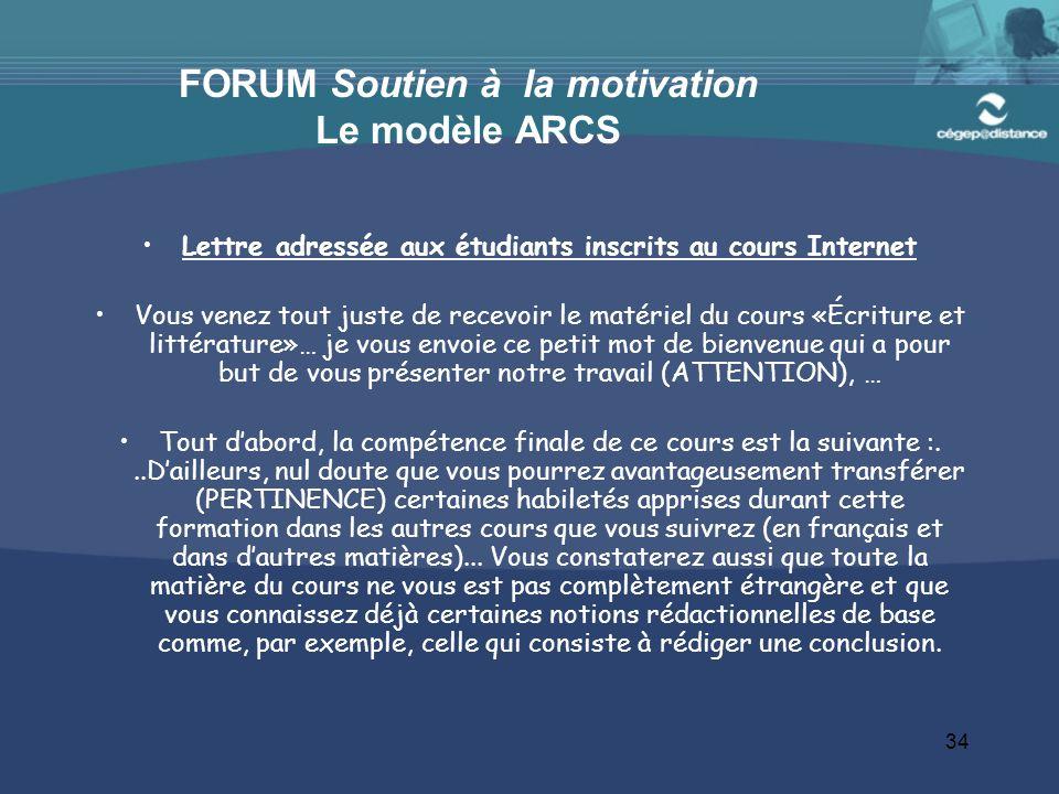FORUM Soutien à la motivation Le modèle ARCS