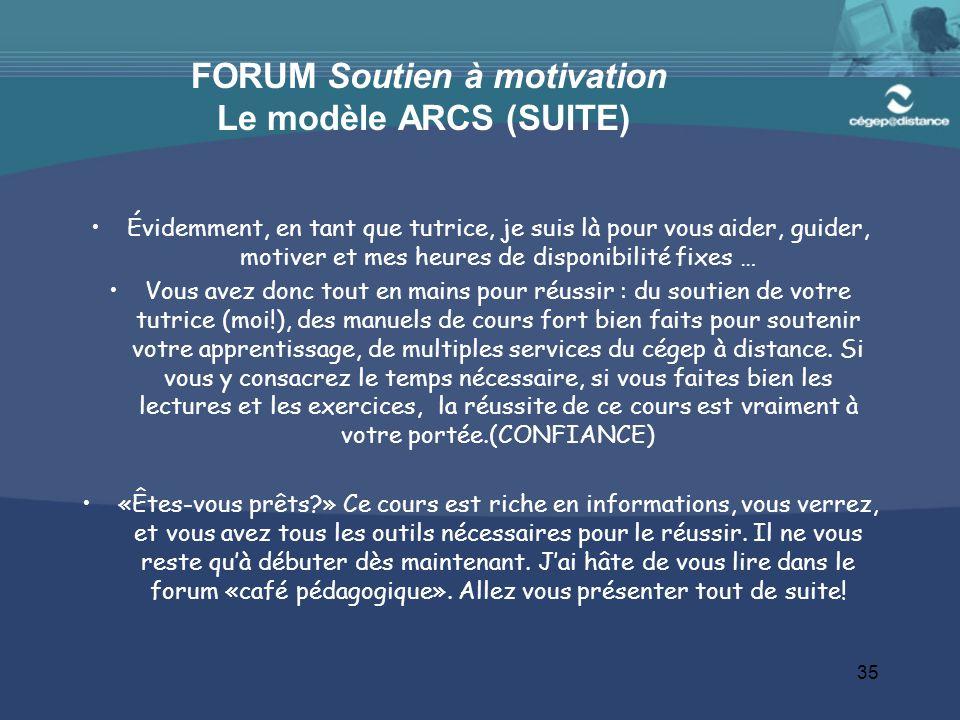 FORUM Soutien à motivation Le modèle ARCS (SUITE)