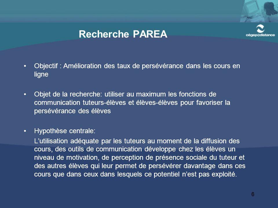 Recherche PAREA Objectif : Amélioration des taux de persévérance dans les cours en ligne.