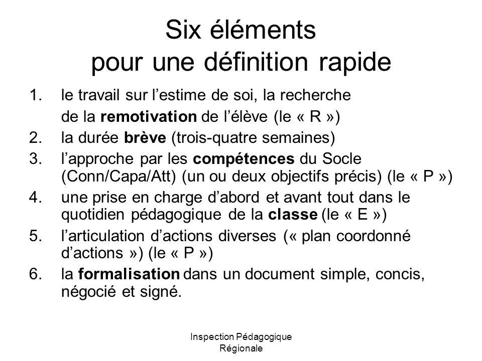 Six éléments pour une définition rapide