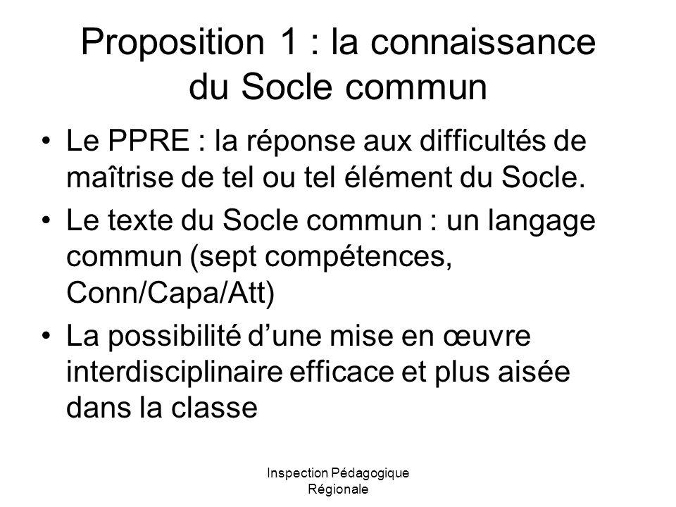 Proposition 1 : la connaissance du Socle commun