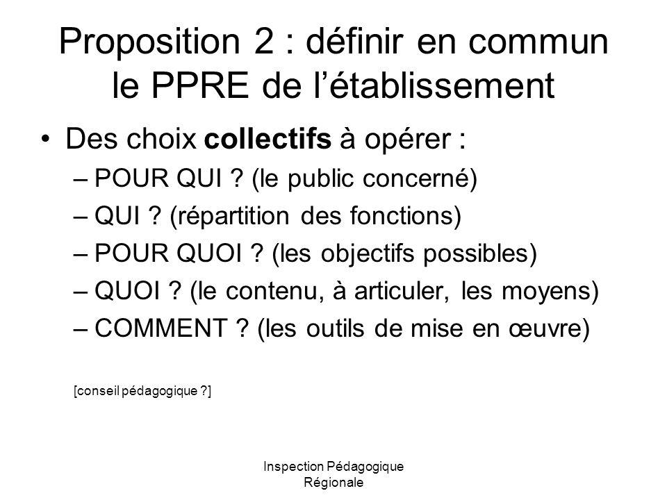 Proposition 2 : définir en commun le PPRE de l'établissement