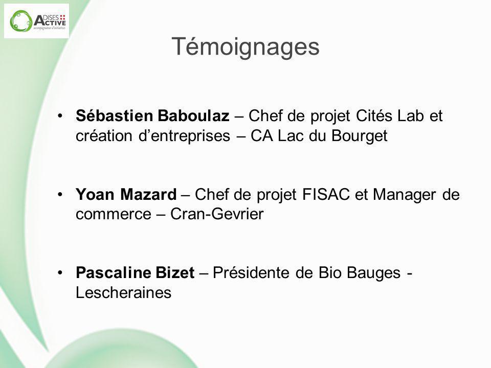 Témoignages Sébastien Baboulaz – Chef de projet Cités Lab et création d'entreprises – CA Lac du Bourget.