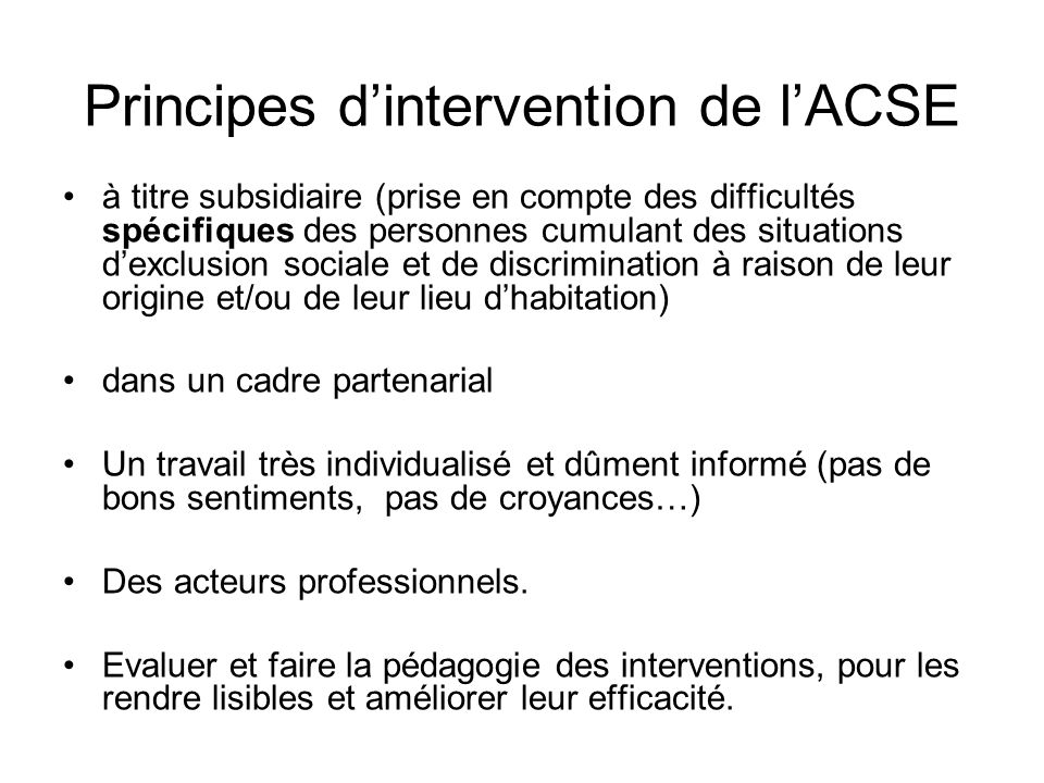 Principes d'intervention de l'ACSE