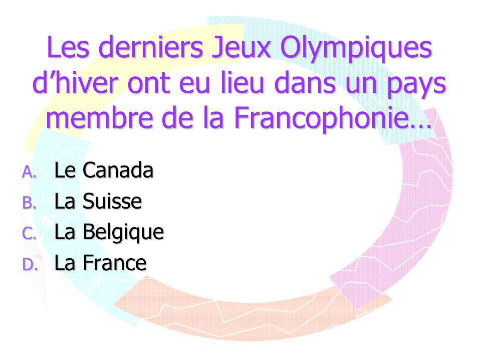 Les derniers Jeux Olympiques d'hiver ont eu lieu dans un pays membre de la Francophonie…