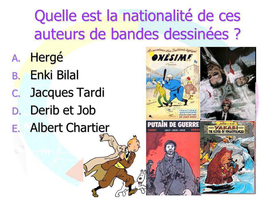 Quelle est la nationalité de ces auteurs de bandes dessinées