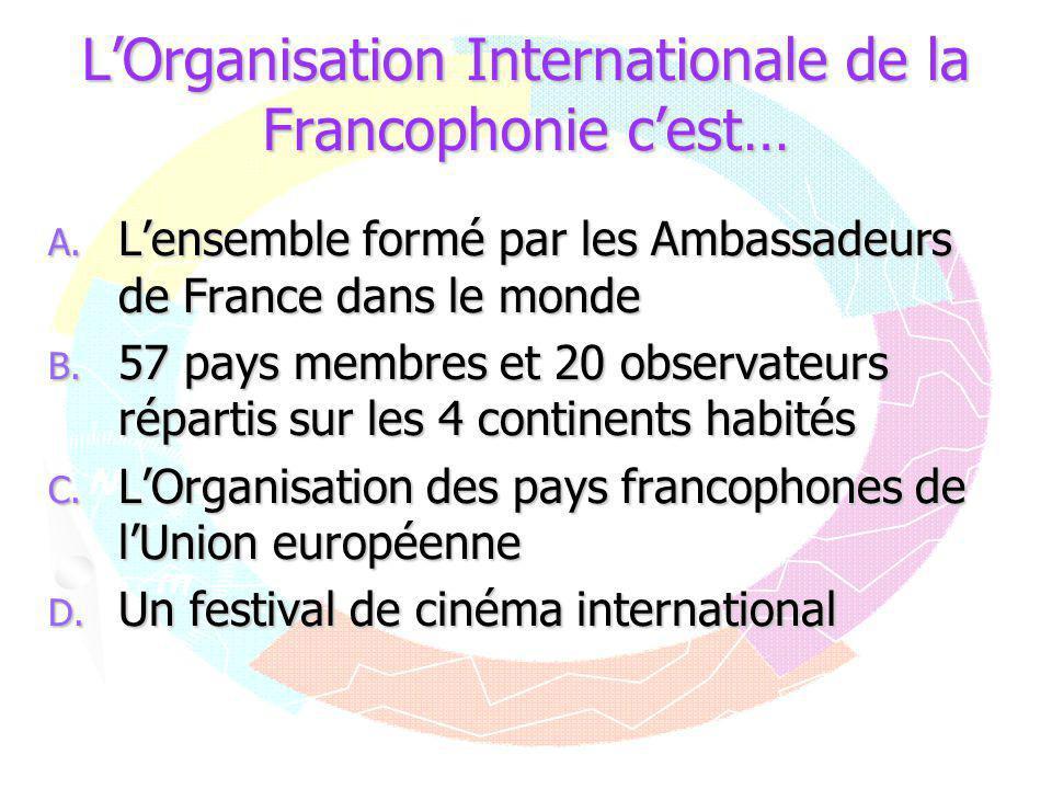 L'Organisation Internationale de la Francophonie c'est…
