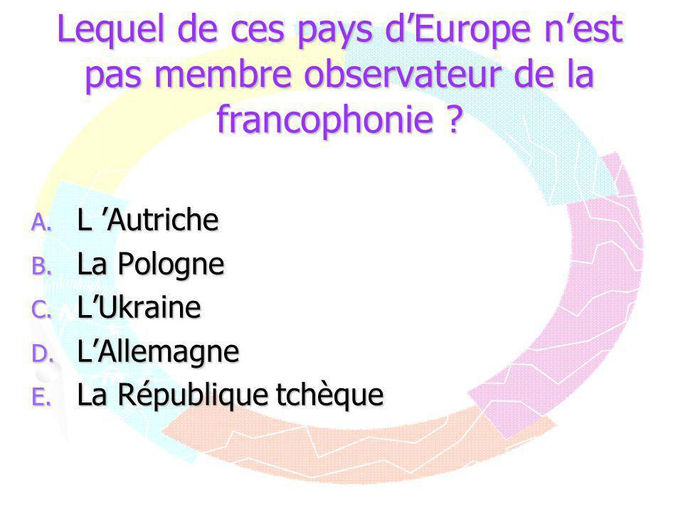 Lequel de ces pays d'Europe n'est pas membre observateur de la francophonie