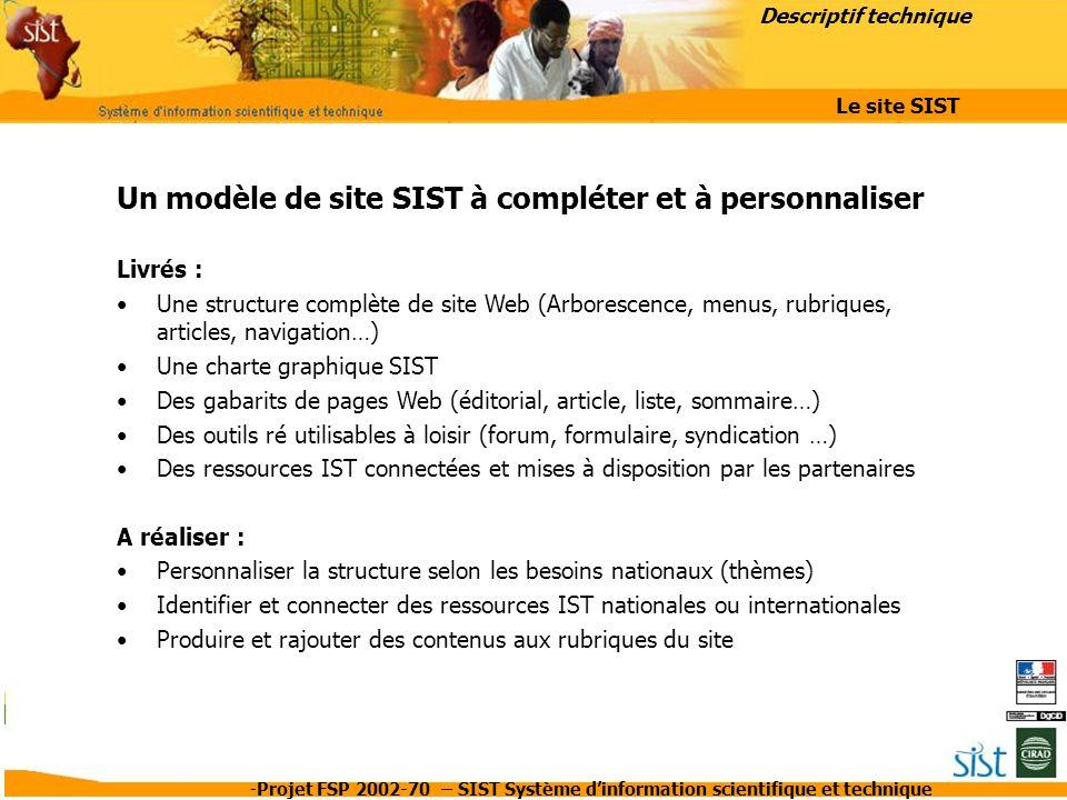 Un modèle de site SIST à compléter et à personnaliser