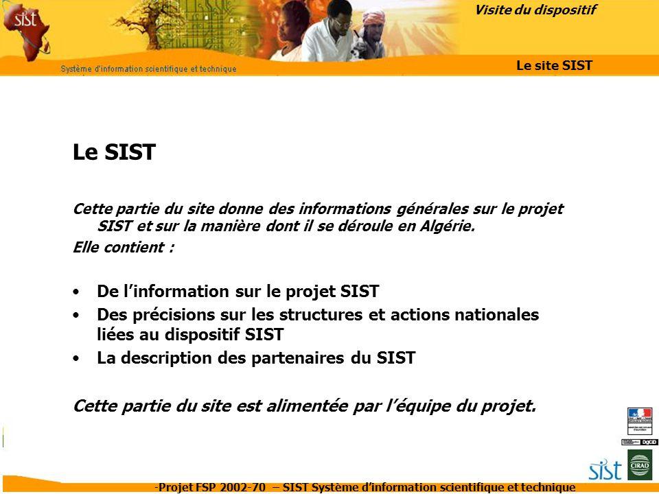 Le SIST De l'information sur le projet SIST
