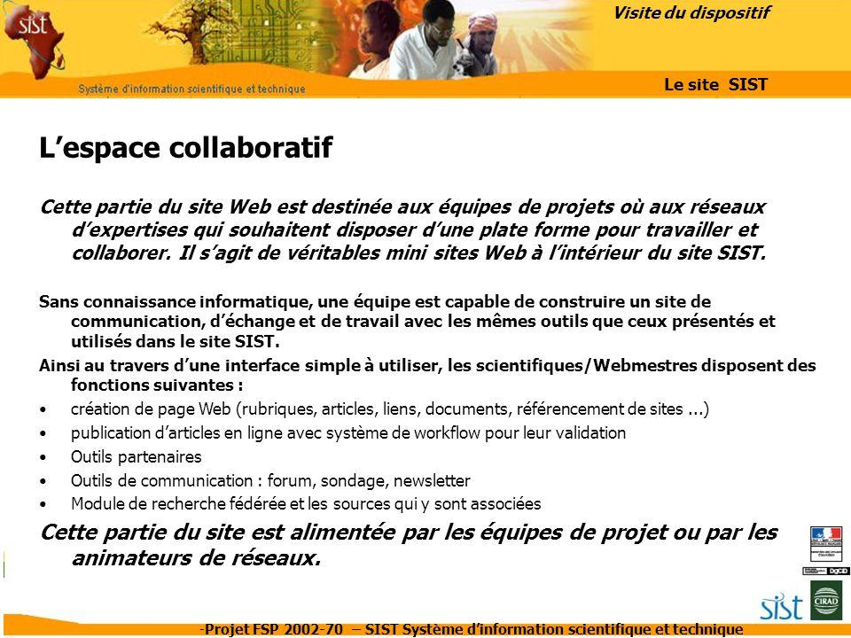 L'espace collaboratif
