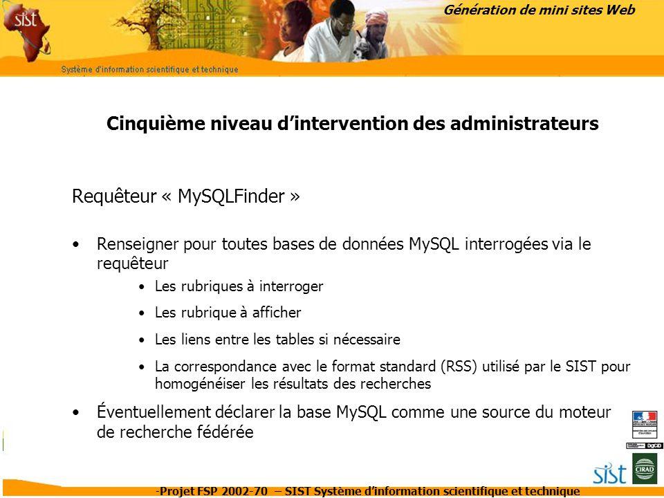 Cinquième niveau d'intervention des administrateurs