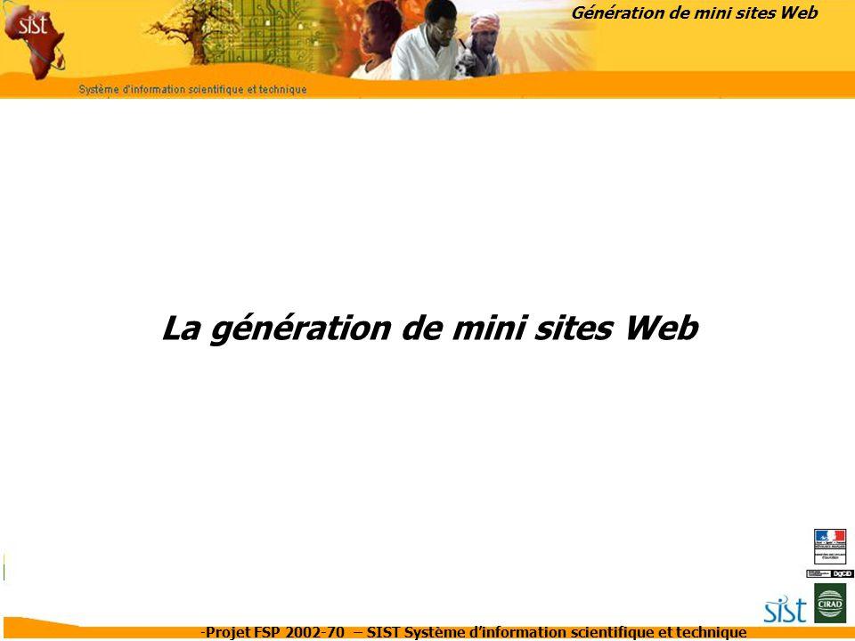 La génération de mini sites Web