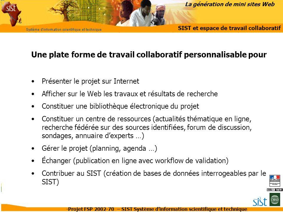 La génération de mini sites Web SIST et espace de travail collaboratif
