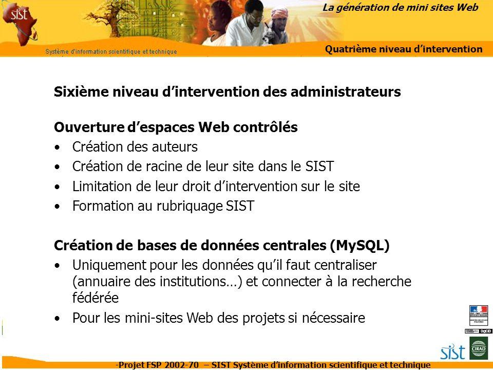 La génération de mini sites Web Quatrième niveau d'intervention