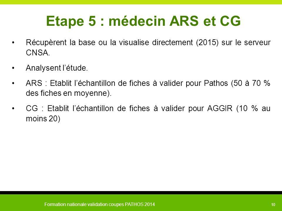Etape 5 : médecin ARS et CG
