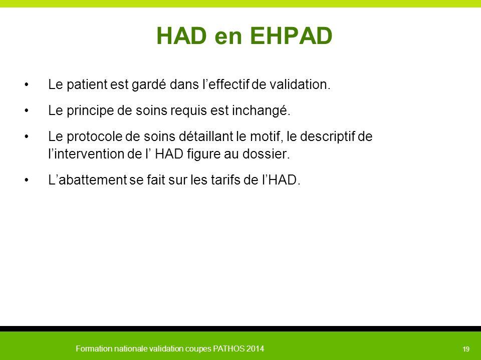 HAD en EHPAD Le patient est gardé dans l'effectif de validation.