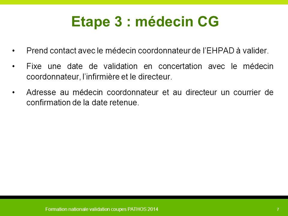 Etape 3 : médecin CG Prend contact avec le médecin coordonnateur de l'EHPAD à valider.