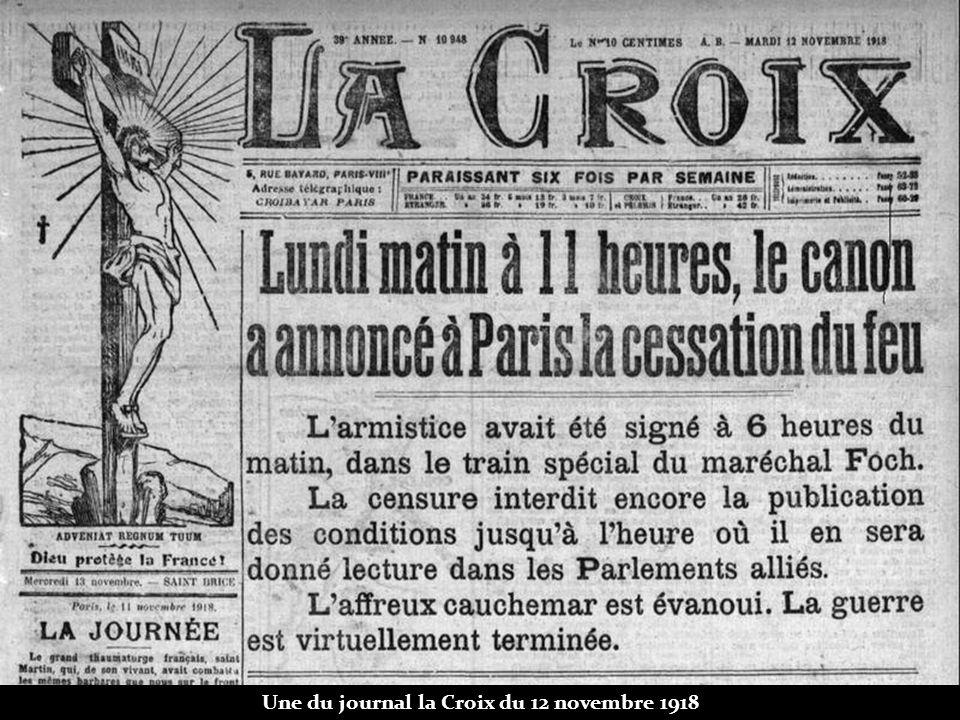 Une du journal la Croix du 12 novembre 1918