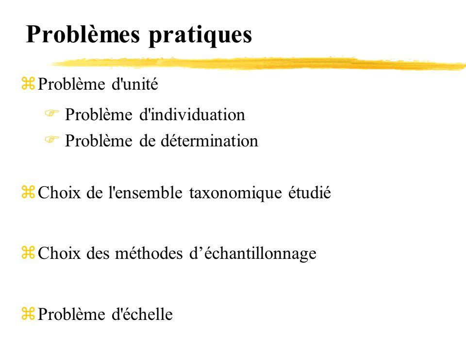 Problèmes pratiques Problème d unité Problème d individuation