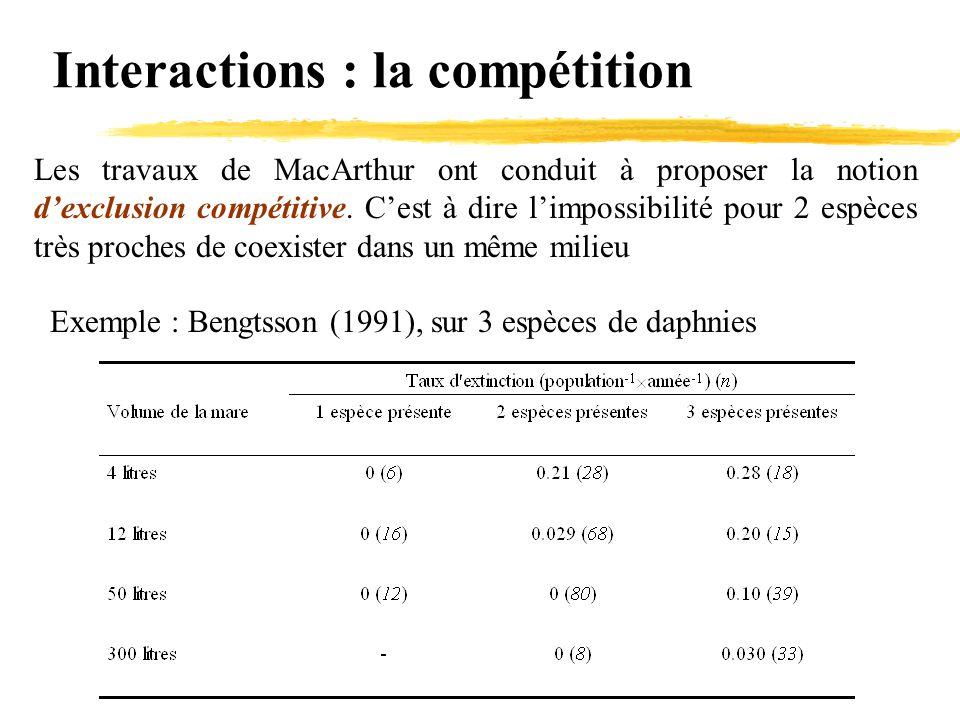 Interactions : la compétition