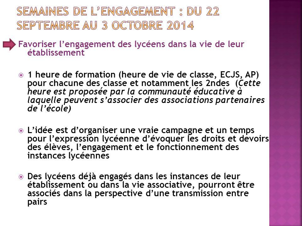 Semaines de l'engagement : du 22 septembre au 3 octobre 2014