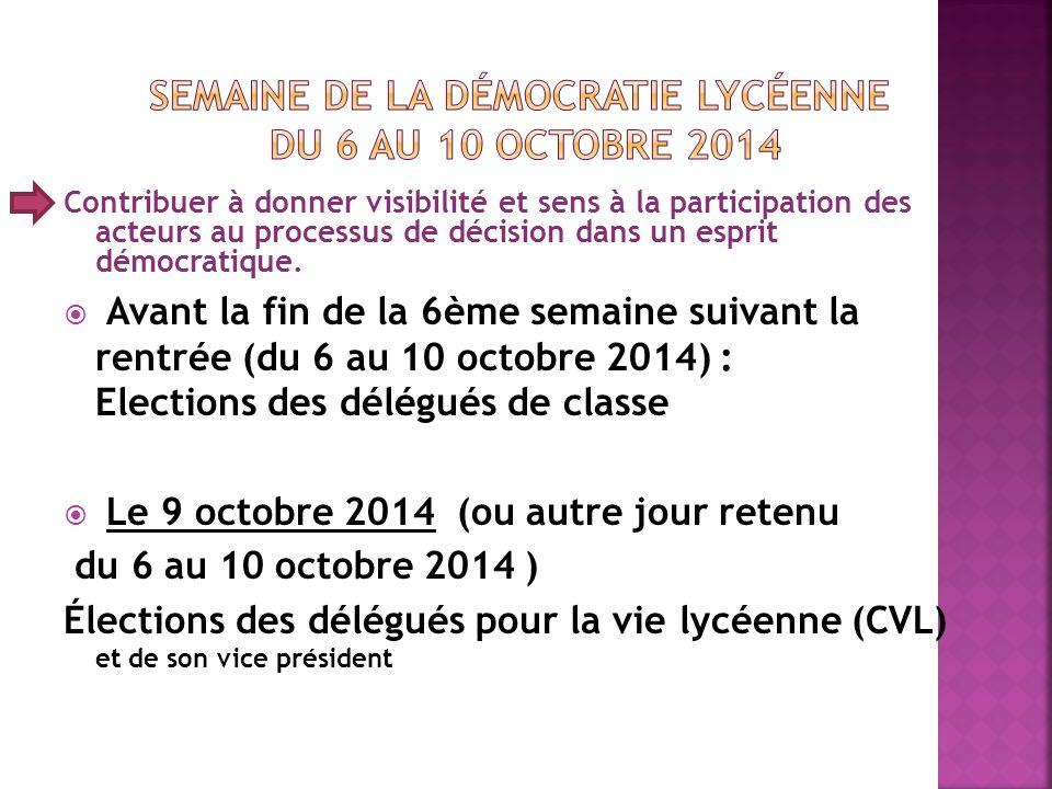 Semaine de la démocratie lycéenne du 6 au 10 octobre 2014