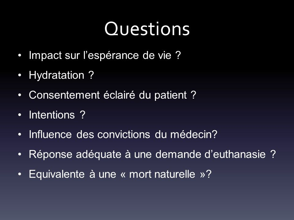 Questions Impact sur l'espérance de vie Hydratation