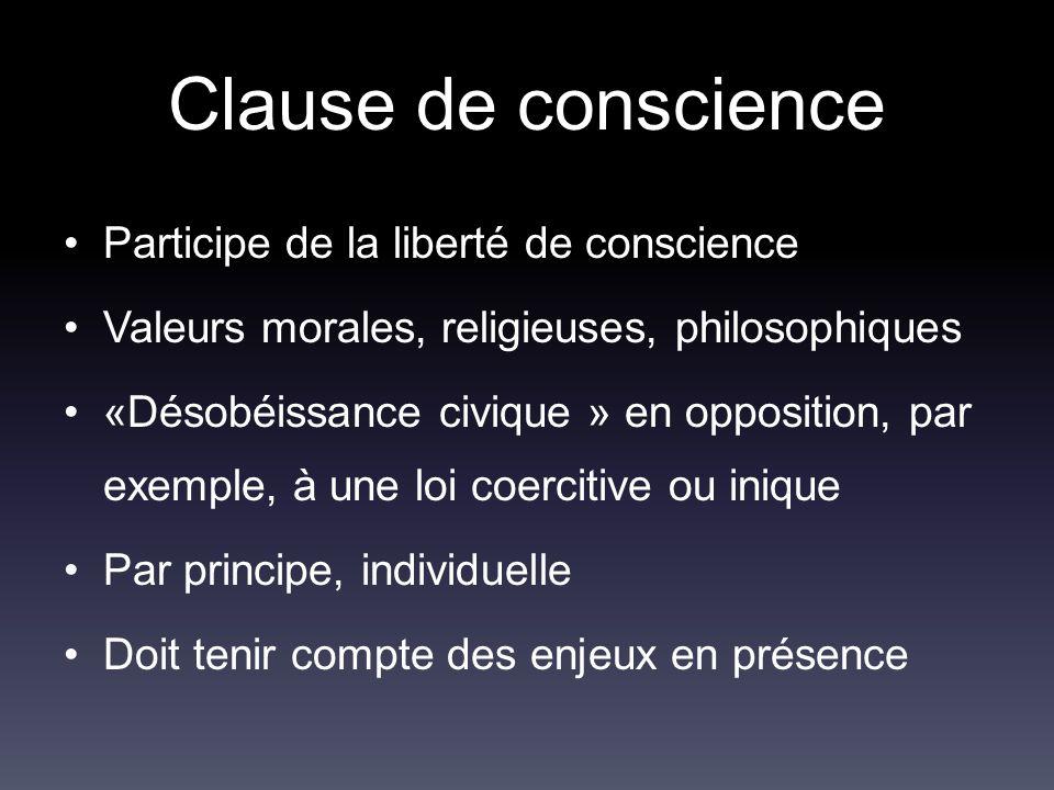 Clause de conscience Participe de la liberté de conscience