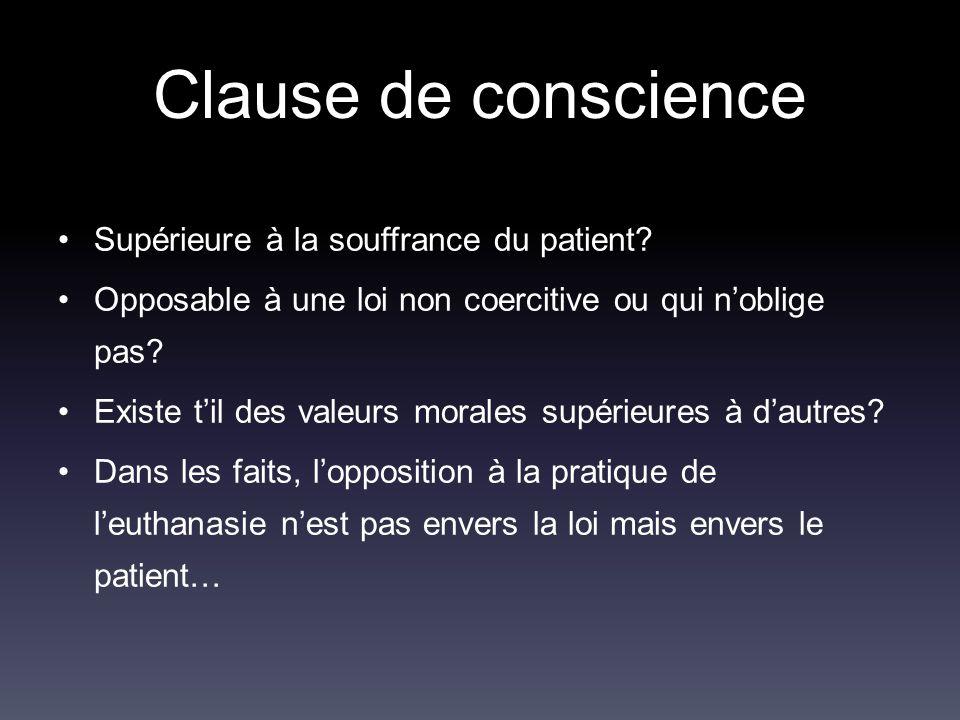 Clause de conscience Supérieure à la souffrance du patient