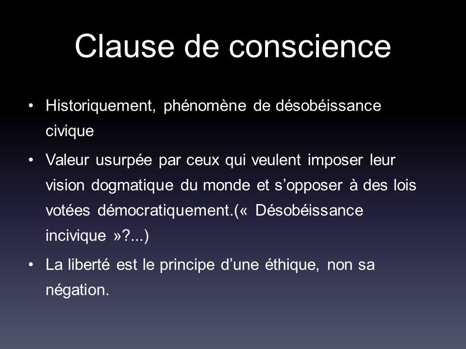 Clause de conscience Historiquement, phénomène de désobéissance civique.