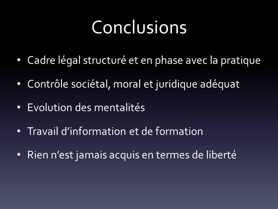 Conclusions Cadre légal structuré et en phase avec la pratique