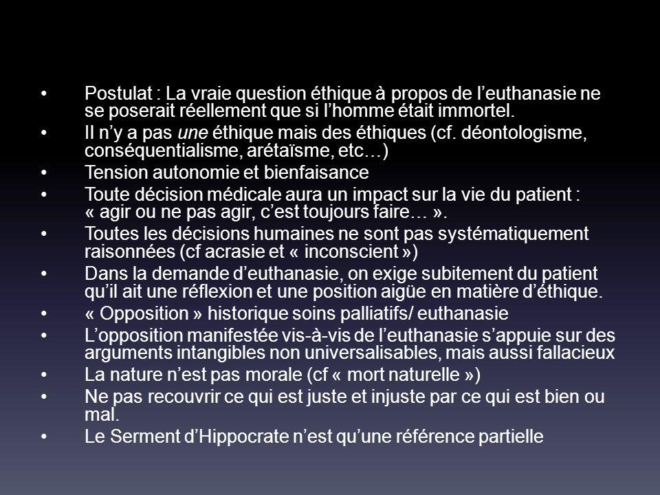 Postulat : La vraie question éthique à propos de l'euthanasie ne se poserait réellement que si l'homme était immortel.