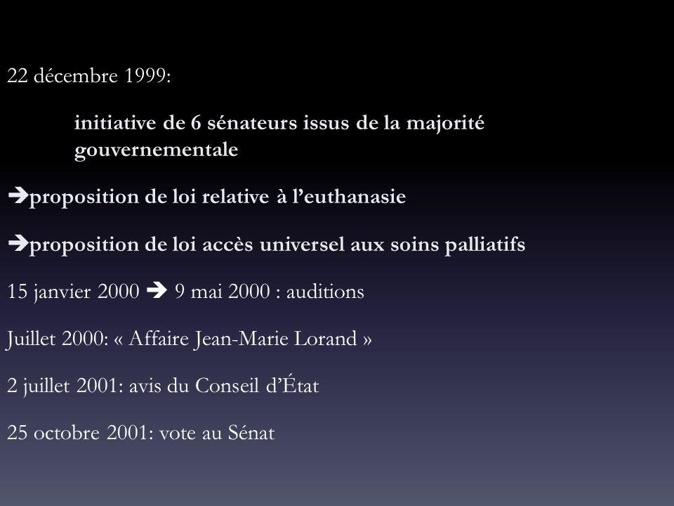 22 décembre 1999: initiative de 6 sénateurs issus de la majorité gouvernementale. proposition de loi relative à l'euthanasie.