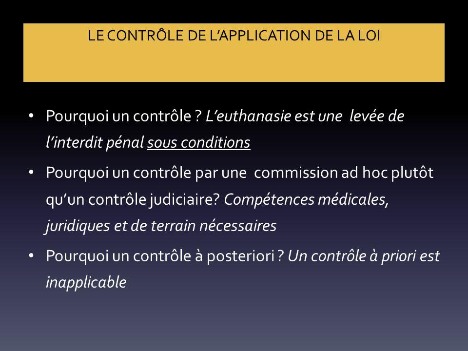 LE CONTRÔLE DE L'APPLICATION DE LA LOI