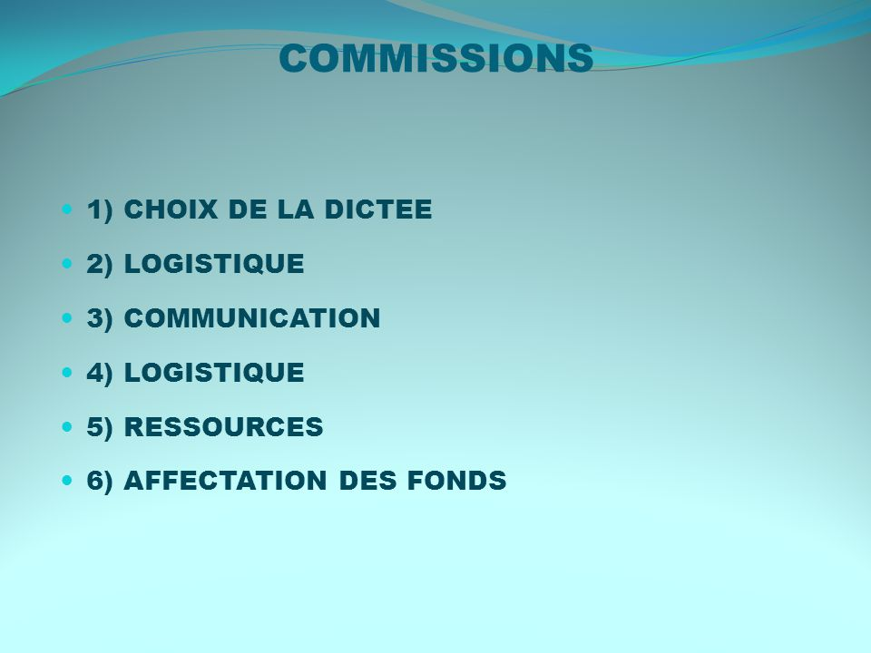 6) AFFECTATION DES FONDS