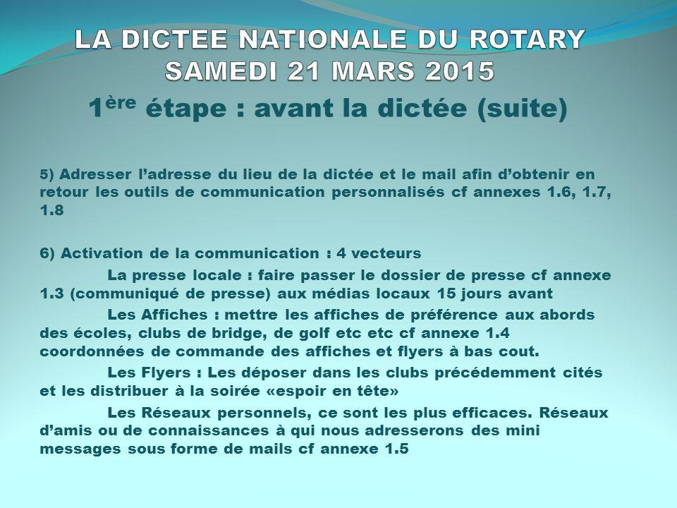 LA DICTEE NATIONALE DU ROTARY SAMEDI 21 MARS 2015