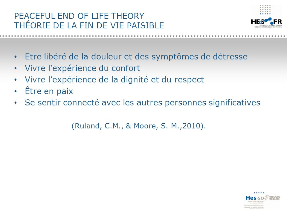 Peaceful End of Life Theory théorie de la Fin de vie paisible