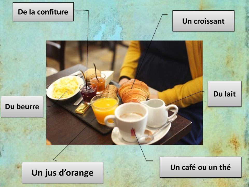 Un jus d'orange De la confiture Un croissant Du lait Du beurre